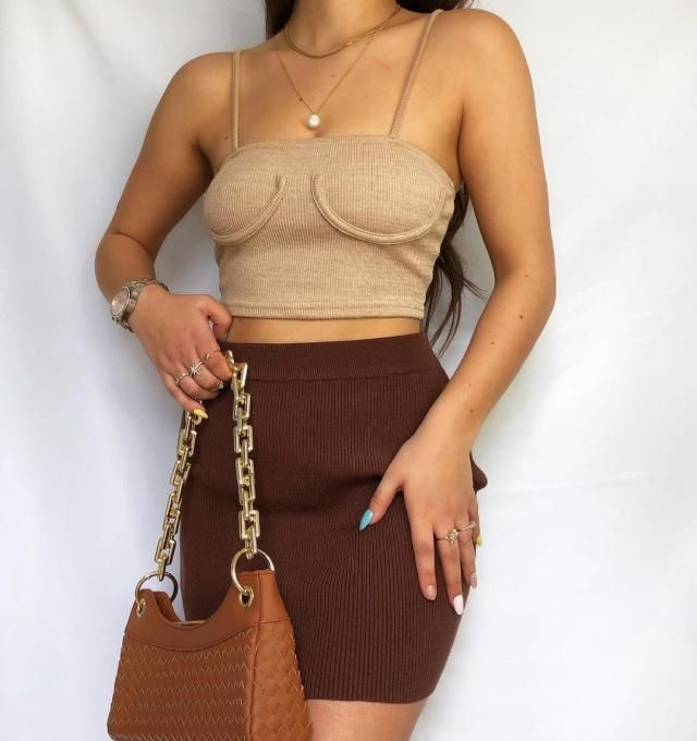 FRIDAY! get this cute ZAFUL Underbust Detail Knitted Crop Tank Top - Light Khaki for this weekend!
