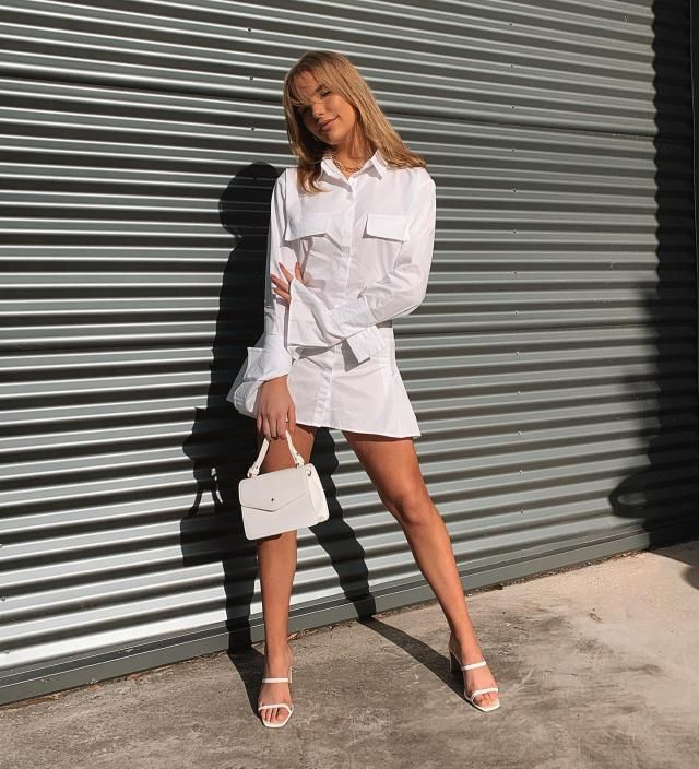Lace-up Plunging A Line Shirt Dress