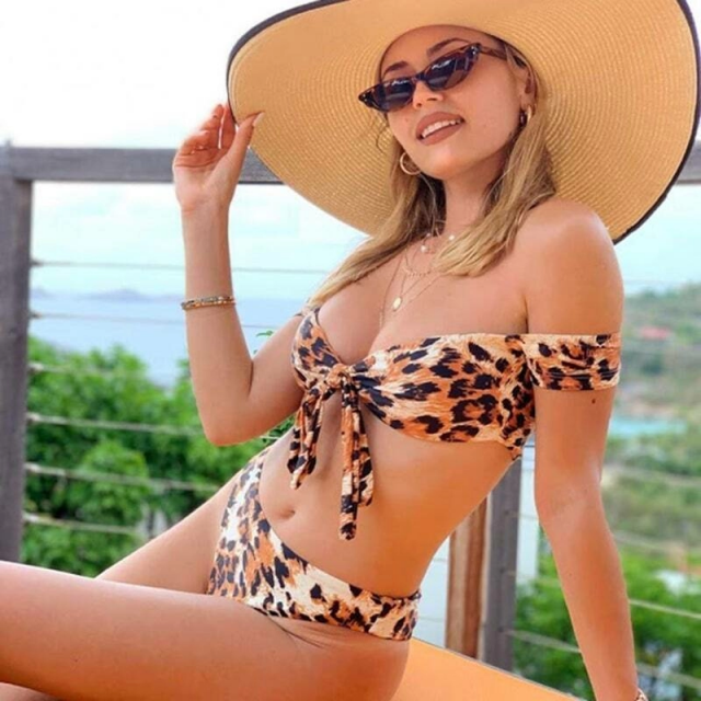 ZAFUL Off Shoulder Leopard Snake High Cut Bikini Set