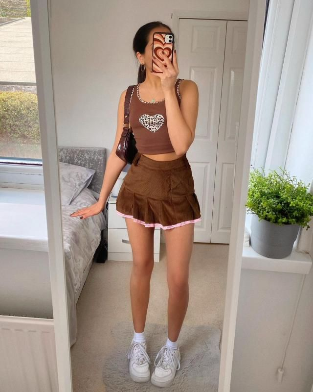 BROWN CUTE OUTFIT skirt+top ! How cute its this Leopard Trim Heart Patch Jersey Tank Top in Coffee tone! get it here!!!…