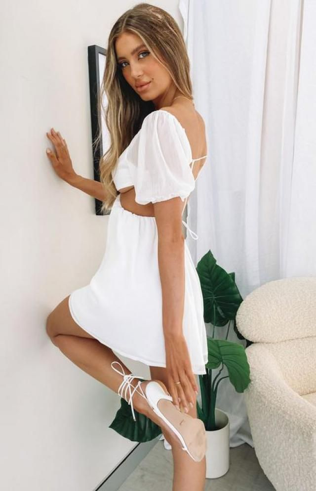 ZAFUL Cutout Tie Puff Sleeve Plunge Dress 