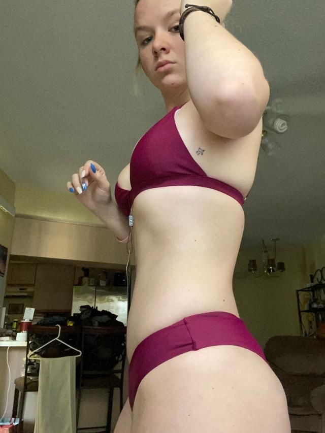 Not my favorite bathing suit on me personally but I love the color. Bottoms ride low, and I could've sized up one and …