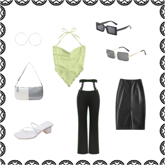 A chic and elegant summer outfit perfect for going out for drinks with green and white accents.