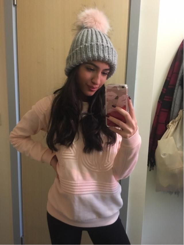 Pom hats are perfect for keeping warm on cold mornings