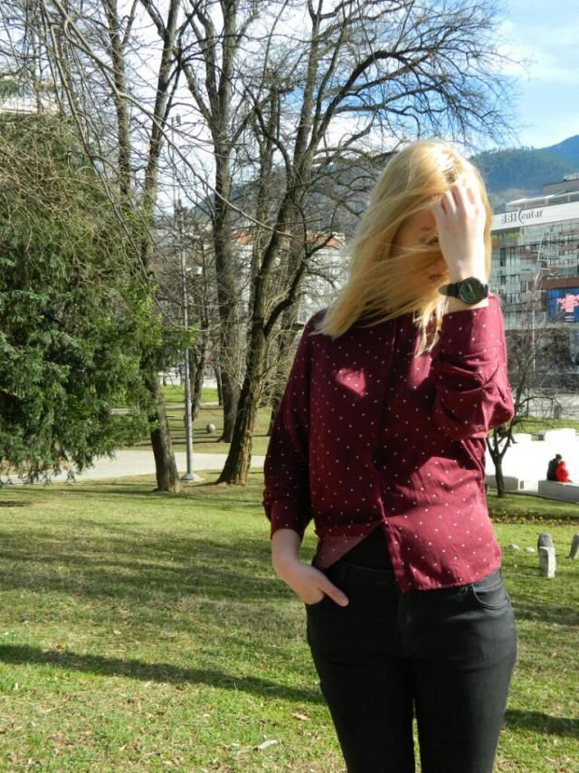 burgundy dots.  new outfit post is on my blog. check it out: www.snjufkalo.blogspot.ba