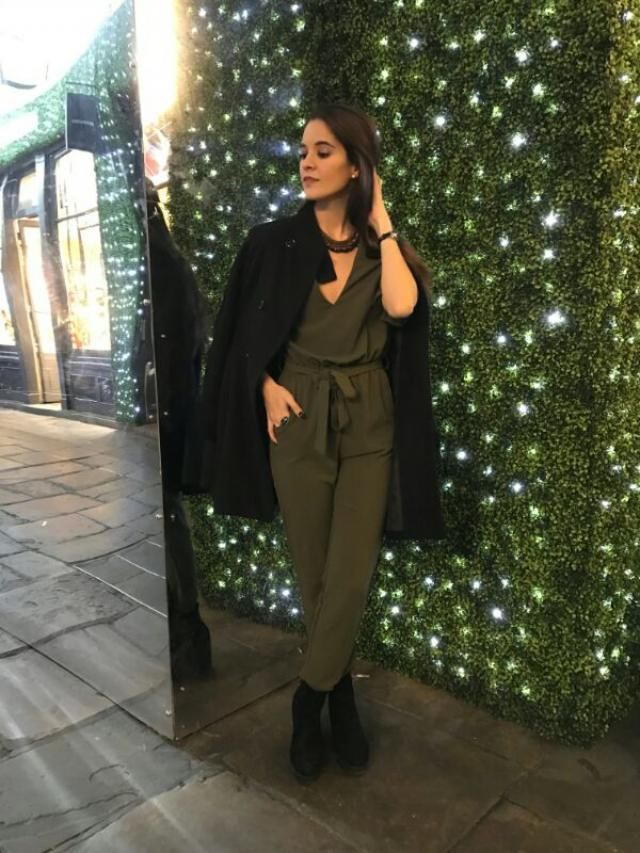 with my green jumpsuit