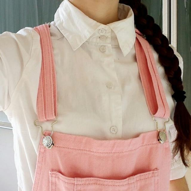 overal pink denim shorts
