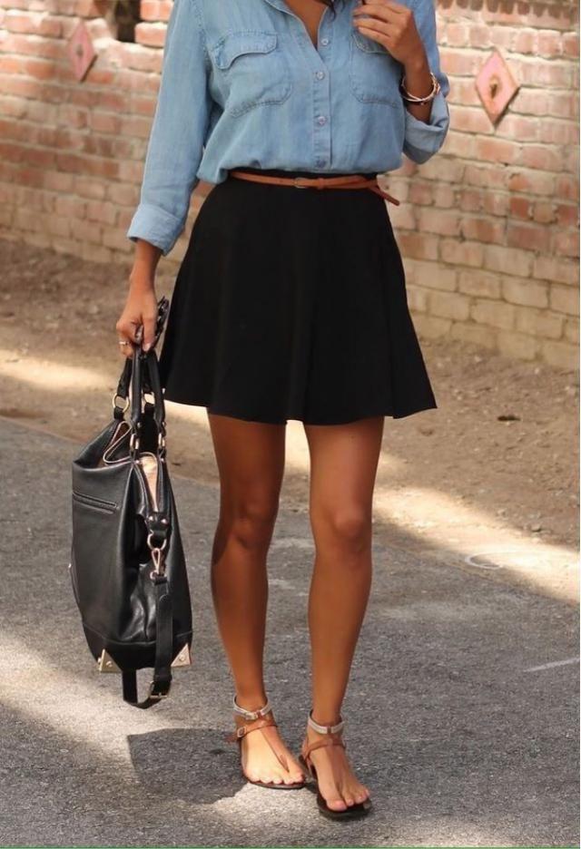 A Line Button Up Denim Skirt Black Skirts S Zaful