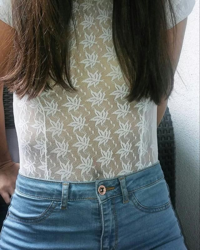 my lace body top, washed denim