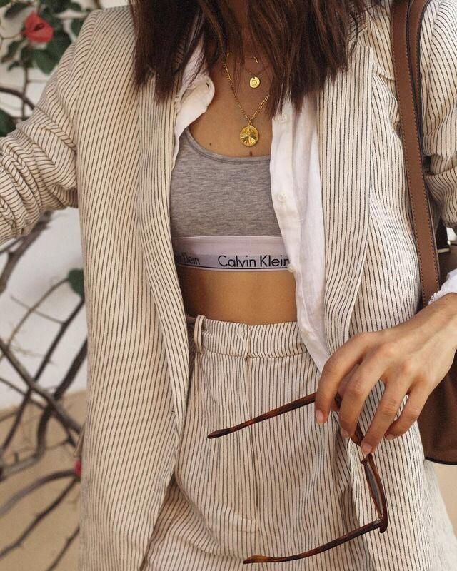Stripes are everything!! Love this pant suit broken up by this super cute sports bra