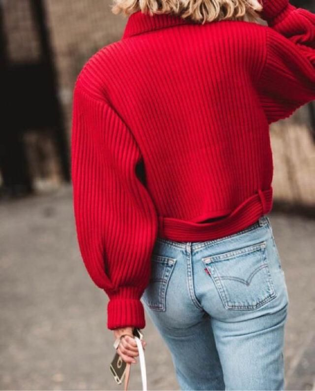 Red sweater and denim-best combination!