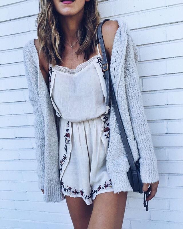 Girly Cozy Outfit #outfit #romper #cardigan #cozy #floral ... | Z-Me Zaful Community