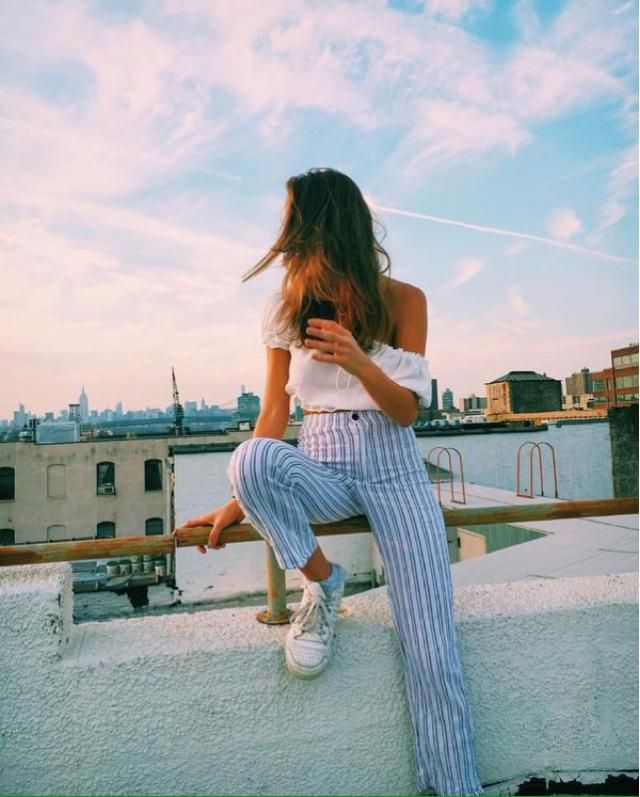 White Top and Striped Pants