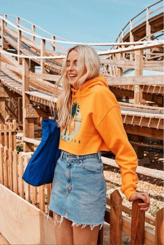 Denim Skirt and Orange Sweatshirt