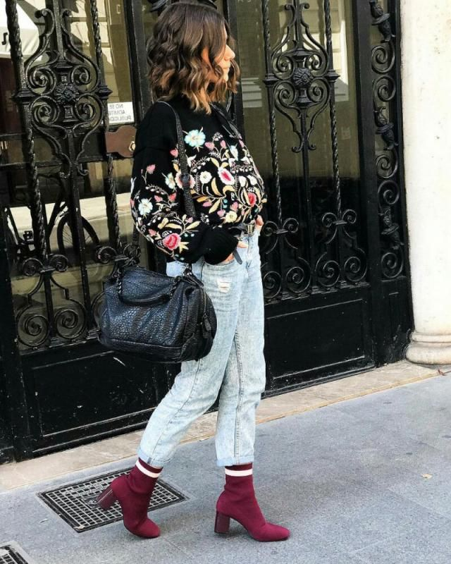 winter sweater with floral pattern