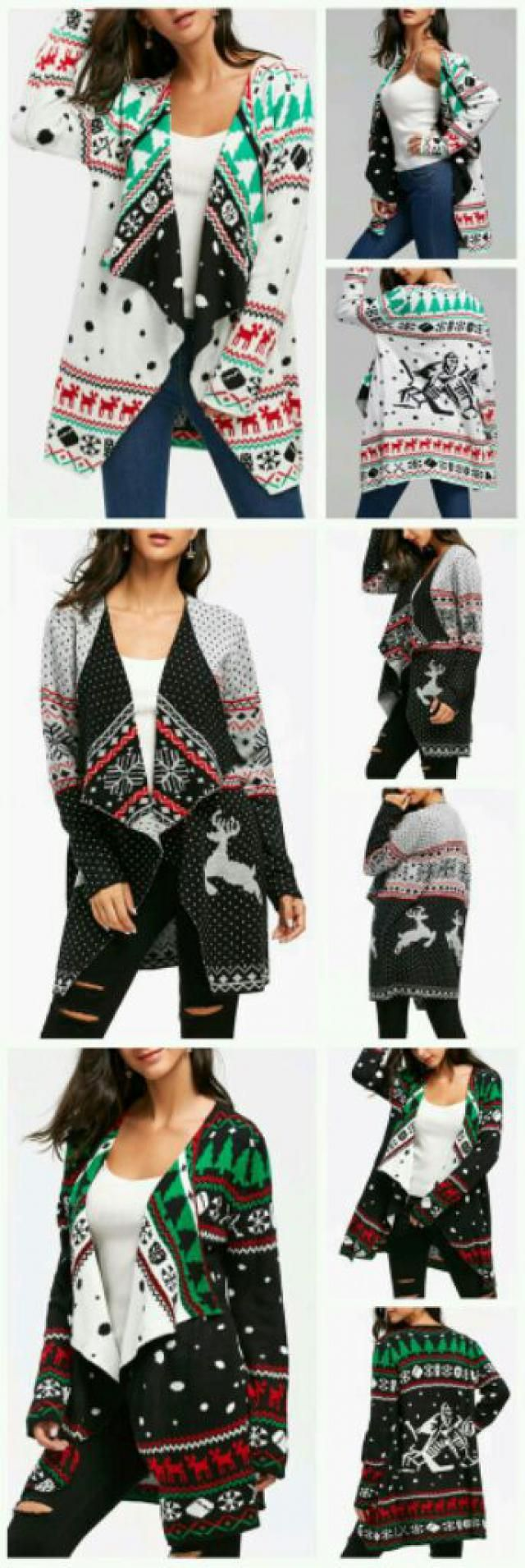 The holiday motifs on the cardigan.