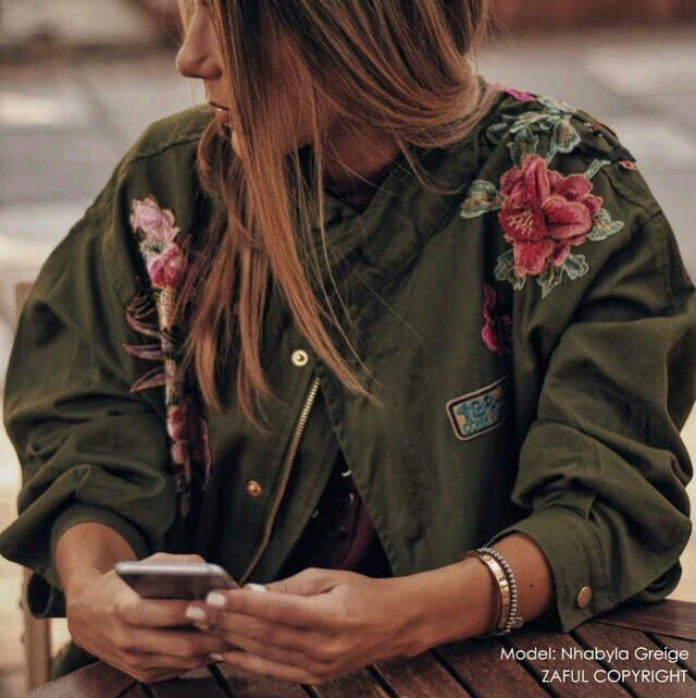 A floral green jacket. Perfect for autumn days.