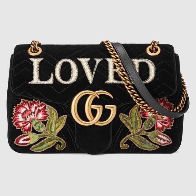 Gucci Marmont embroidered velvet shoulder bag $2,700