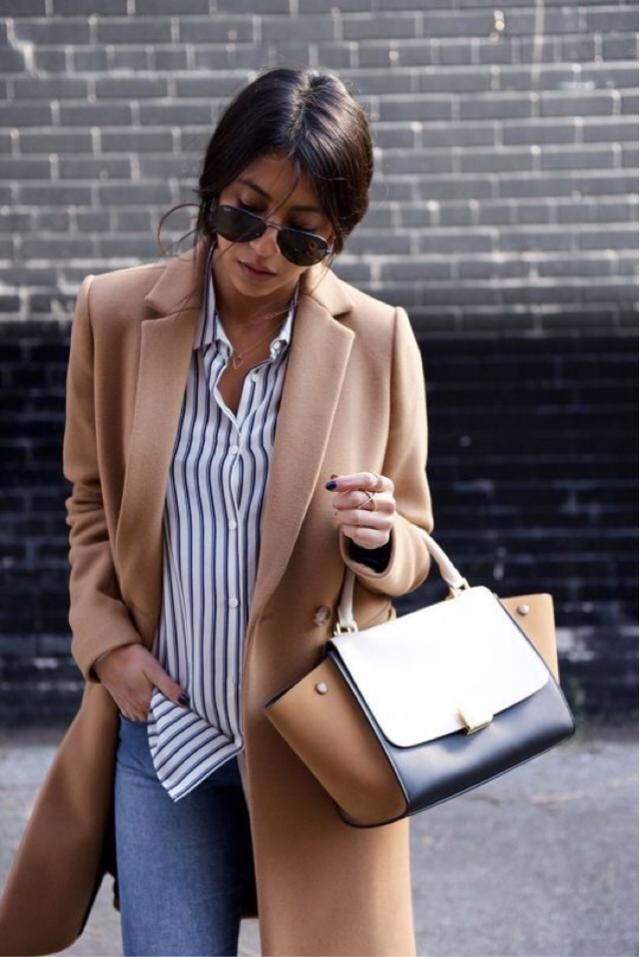 Camel coat, stripes and jeans-the perfect mix!