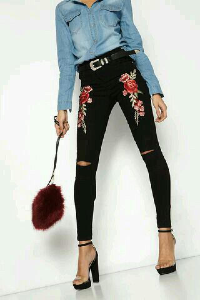 Black pants with a floral print, so cute.