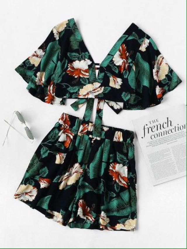 Green Floral Print