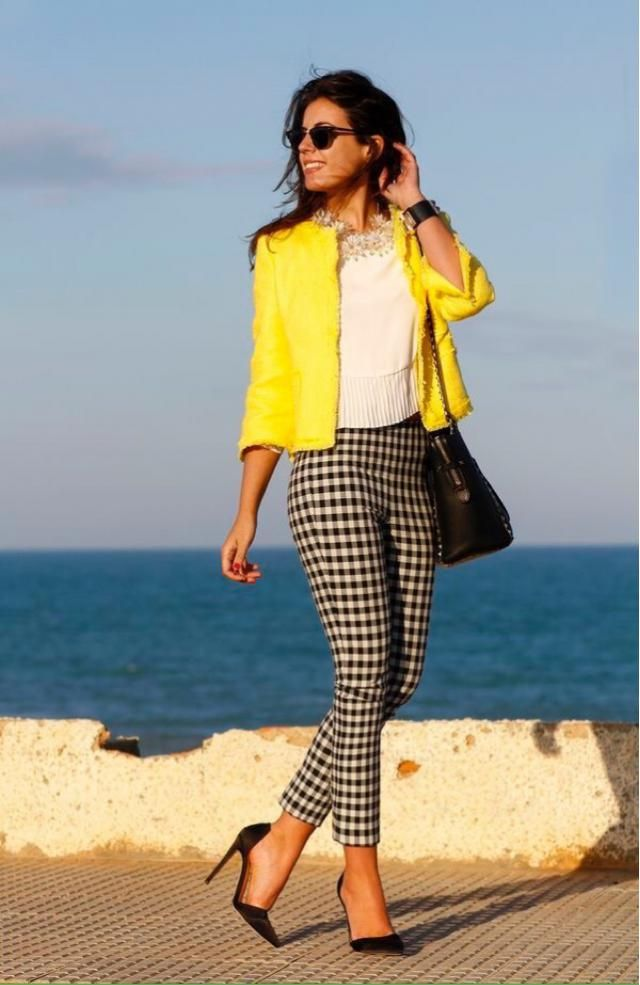 Yellow and Plaid Look