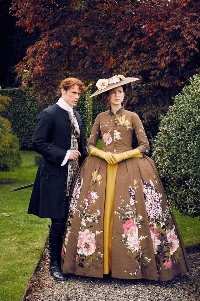 Old vintage 1749, in France Paris with a mix of Scottish in the males wardrobe, and a beautiful silk dress with bloomin…