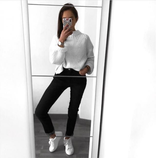white sweater is a must