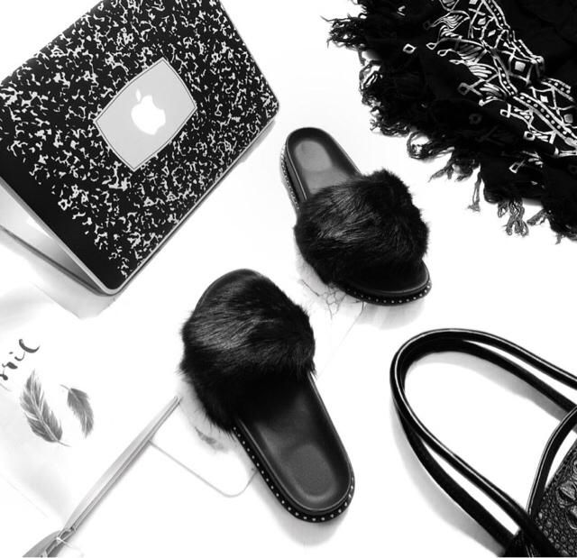 black fluffy slippers are a must have