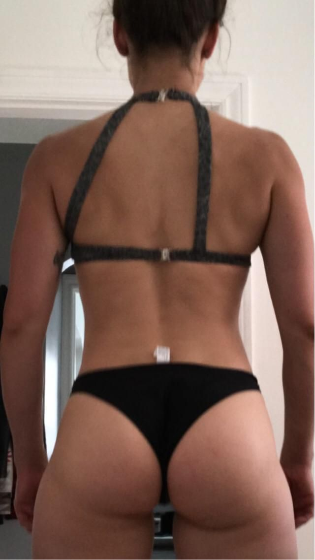 Look at the back of this bikini top!!  Straps sewn unevenly. Cute, but now I'll have to take it to a tailor. Not worth …