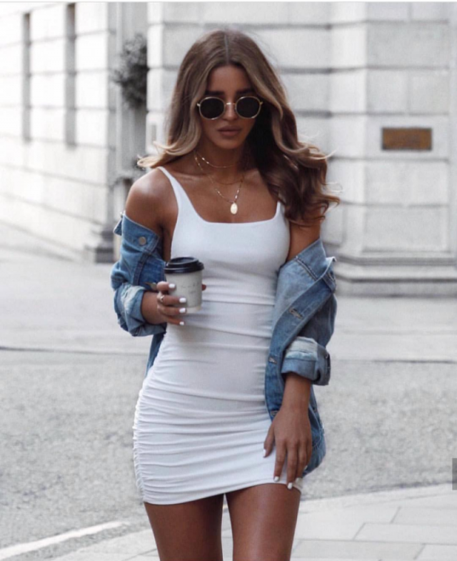 White Dress and Denim Jacket
