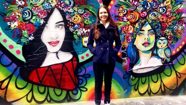 Rugging up in Hosier Lane with some beautiful art surrounding me.