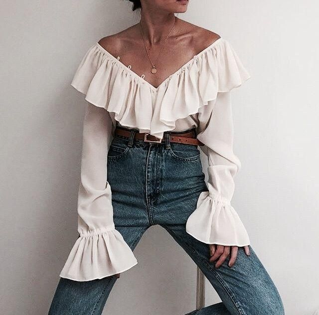 off the shoulder blouse and jeans | | |