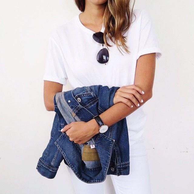 All white outfit but also must add up with denim jacket to make it more casual and pretty