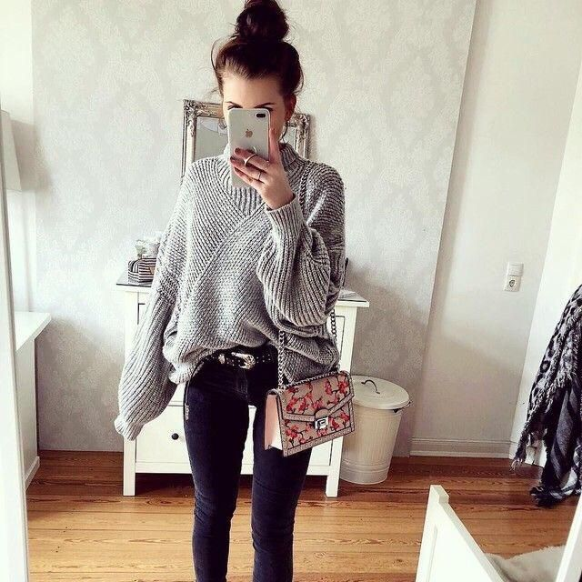 what a cutie OOTD, it's about gray sweater and a cute jeans