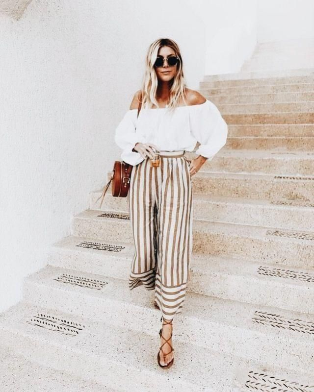 Striped Pants and Off the Shoulder Top | | |