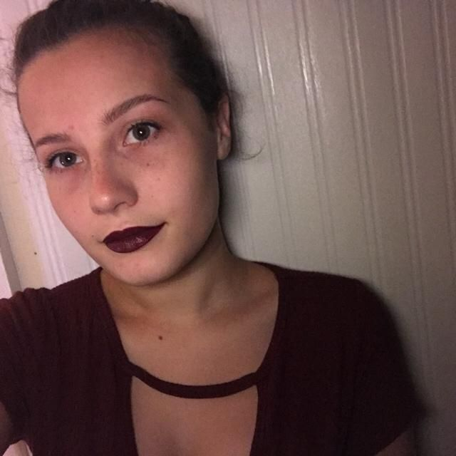 Wine red lipstick and shirt