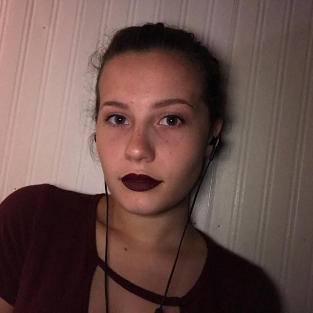 Wine red lipstick and shirt