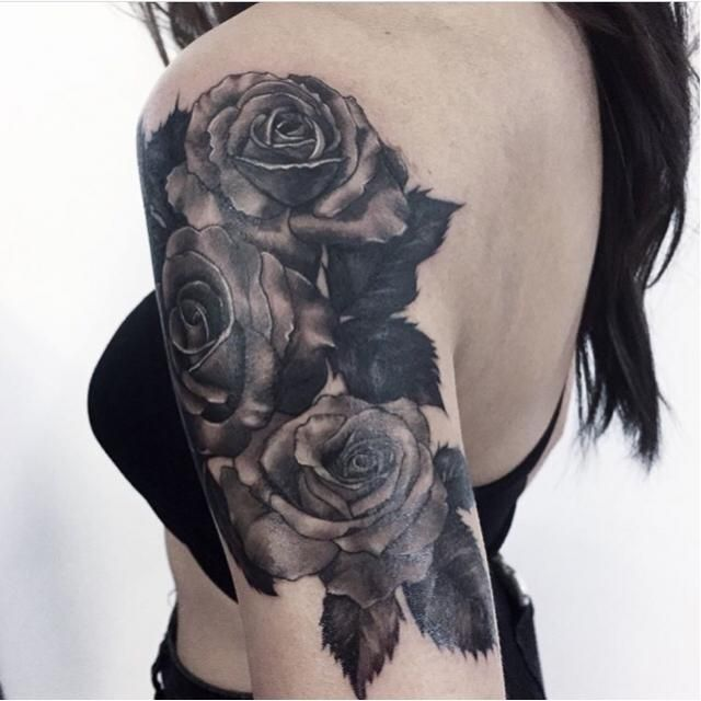My 1/4 sleeve of the roses represents me and my sisters. I have an older and a younger, I think of roses as being bitt…