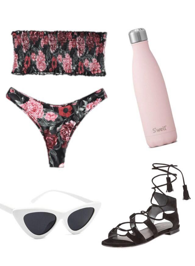 Pair this cheeky bikini with black gladiator sandals and white cat-eye sunglasses for a trendy summer look that's s…