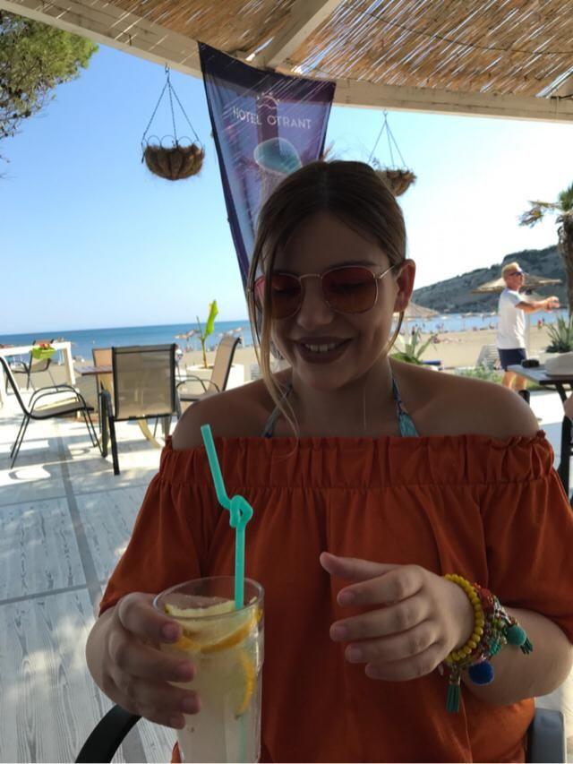 Cocktails at beach bar.