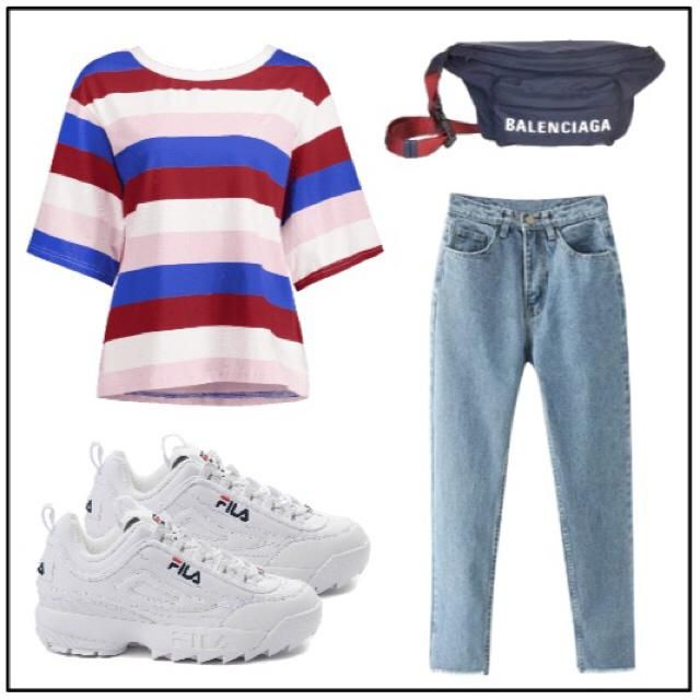 Add a 90s vibe with fresh Filas, mom jeans, and a designer fanny pack.