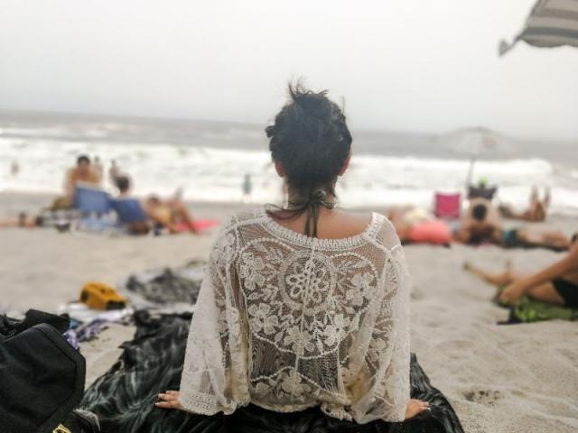 Beach days. Love my kimono