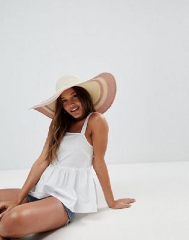 77a4df258bb2f Straw Floppy Hat with Metallic Brim and Size Adjuster