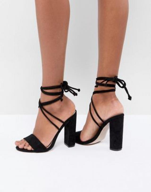 01829c5ff136 Public Desire Suzu Black Tie Up Block Heeled Sandals