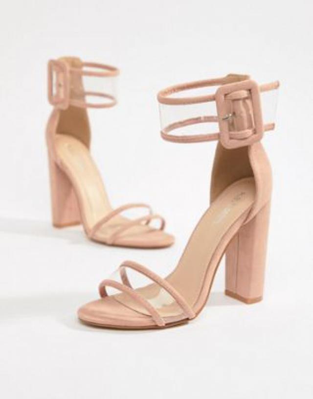 636c09bdad47 Public Desire Mission Dusty Pink Clear Strap Block Heeled Sandals