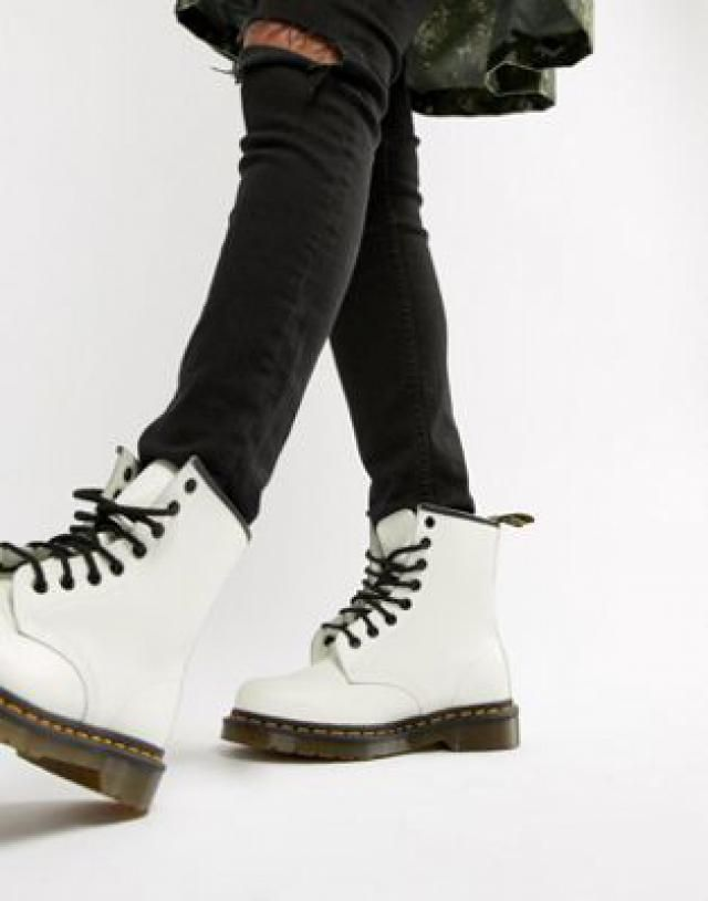 fd381fd1b1e Dr Martens 1460 White Leather Flat Ankle Boots