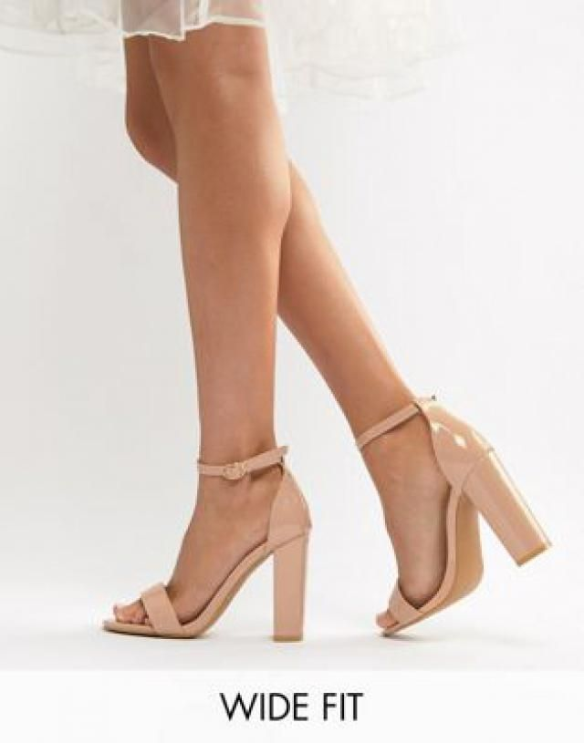 9097a097f3a Glamorous Wide Fit Beige Patent Barely There Block Heeled Sandals