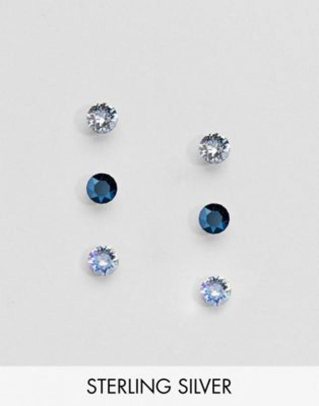 8cea1ad37 Accessorize 3 pack sterling silver blue swarovski stud earrings