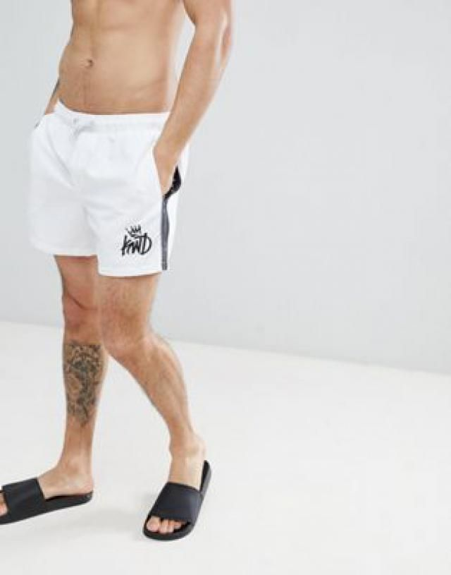 b2057cccb6d Kings Will Dream Higson Swim Shorts In White With Side Stripes